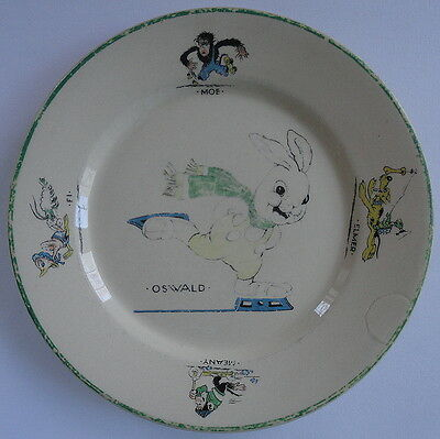 Oswald Rabbit Moe Fi Meany Elmer Santone Childrens Plate Warwick China c.1946