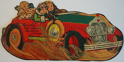 Valentine 1920's Couple Roadster Car w/Moveable Cupid & Tire Ripping Up the Road