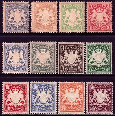 BAVARIA BAYERN GERMAN STATES valuable mint Coat of Arms stamp collection!