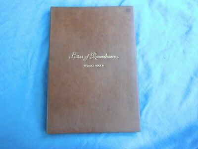WWII SOUVENIR BOOK Letters Of Remembrance World War II