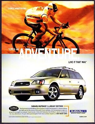 2004 Lance Armstrong Subaru Outback L.L. Bean Edition photo promo print ad