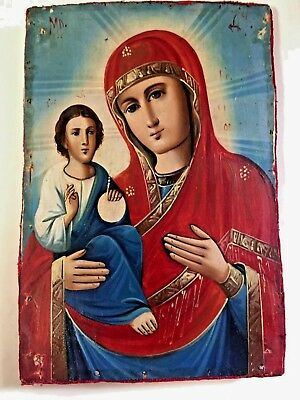 Stunning Antique Russian Orthodox Icon 19C Virgin Mary & Jesus Christ Large Size