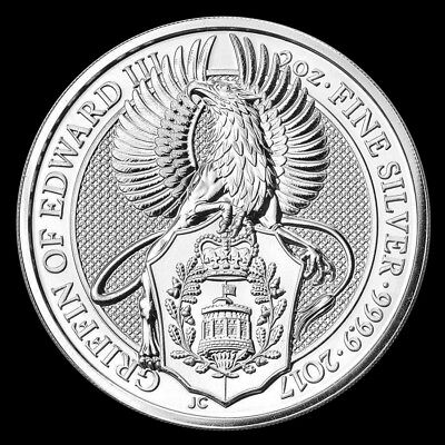 2017 2 oz Queen's Beast Griffin of Edward III .9999 Silver BU Coin from Roll