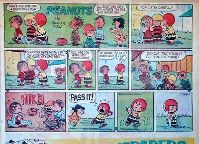 Peanuts by Charles Schulz - large half-page Sunday color comic - Oct. 27, 1957