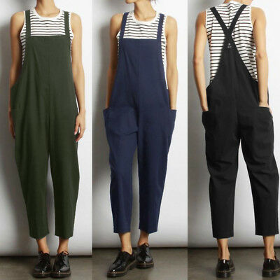 ZANZEA 8-24 Women Loose Bib Trousers Pants Dungarees Jumpsuit Plus Size Overalls
