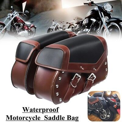 Brown Motorcycle Saddle Bags Side Pouch Case For Harley Sportster XL 883 1200