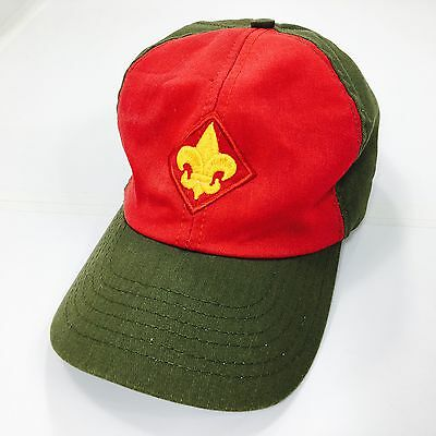 Boy Scouts Of America BSA Baseball Hat Green Red Adjustable Snapback Made In USA