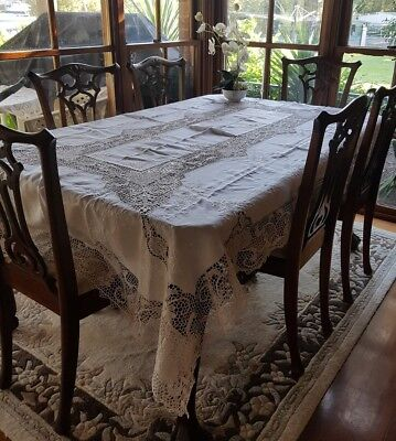 Vintage Cream Reticella Filet Point De Venise Lace TableCloth Needlelace