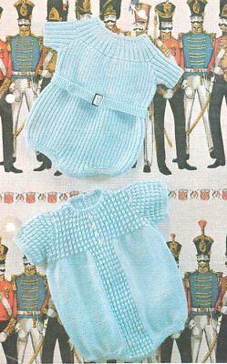 "Vintage Baby Knitting Pattern Ribbed & Patterned Rompers 19"" - 22  4 Ply"