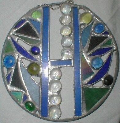 VINTAGE OOAK handmade STAINED ART GLASS BLUE TURQUOISE ROUND WINDOW HANGING