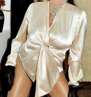 light gold wet look satin evening party blouse tunic  top  uk  size 14