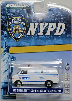 GreenLight NYPD 1977 Chevrolet G20 Emergency Service Van #29803 New Wht 8+ 1:64