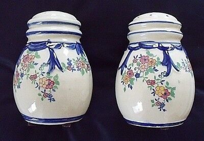 Antique Salt & Pepper Shakers Flowers OLD made in Japan
