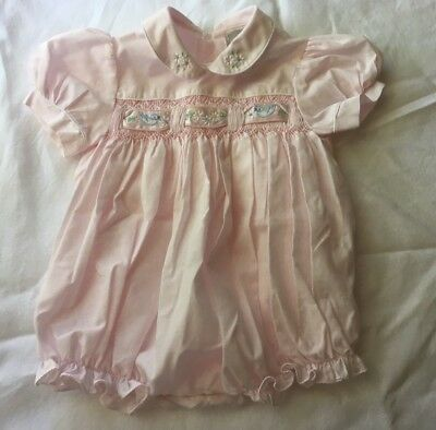 Vintage PINK Light Cotton Baby Girl ROMPER Smocked Satin Embroidery Bubble 6M