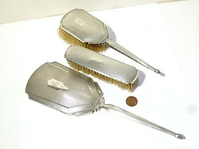 Sterling Silver Art Deco Brush & Hand Mirror Dresser Set 1932 Letter C