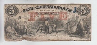 Obsolete Currency Bank of Greensbourough Georgia $5 rough edges