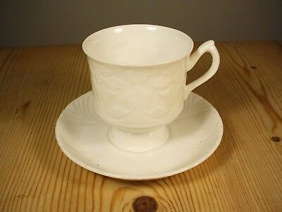 Crown Staffordshire Koryo Pottery White Cup & Saucer