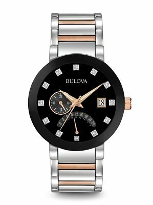 Bulova Diamonds Dual Time Silver Rose Tone Mens Watch 98D129