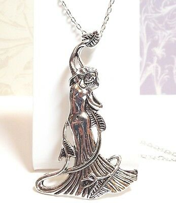 GODDESS_Large Pendant + Chain Necklace_Wicca Pagan Lady Fertility Harvest Silver