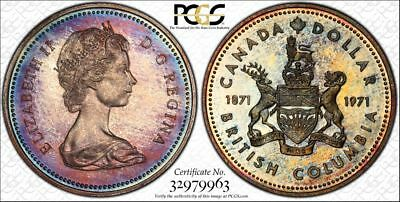 1971 Canada PCGS SP68 Superb Gem Colorful Toned Specimen Dollar (db1422)