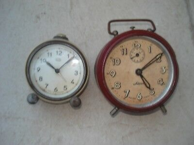 two old mantle / alarm clocks
