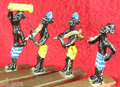 4 VINTAGE 1930s/40s SOLID BRASS HAND PAINTED MINIATURE EGYPTIAN Musician FIGURES