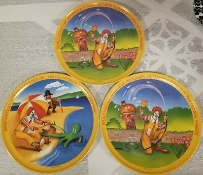 Vintage 1977 (3) MCDONALD's Collectible PLATES Spring & Summer Melamine 10""