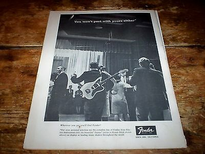 "FENDER elec GUITARS ( ""you won't part with your's either""  @ PROM ) 1965 Ad NM-"