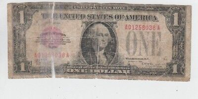 RED Seal United States note  $1 1928 low grade with tape