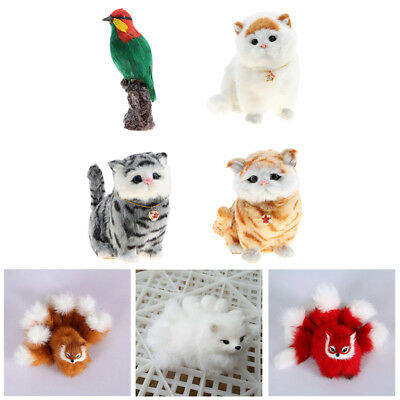 Realistic Plush Animal Model Cat Fox Animal Action Figures Home Decor Xmas Gift