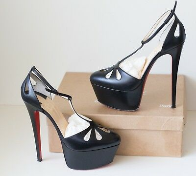 9424d8cf8be1 Christian Louboutin Black Amyada Leather Pumps Platforms EU 39.5 US 8.5 - 9