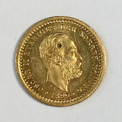 1899 Sweden 5 Kronor Gold Coin - Nice Uncirculated - High Quality Scans #C900