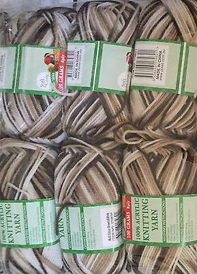 Knitting wool 6 x 100g acrylic yarn 8ply Multi Colour Browns and White Brand New