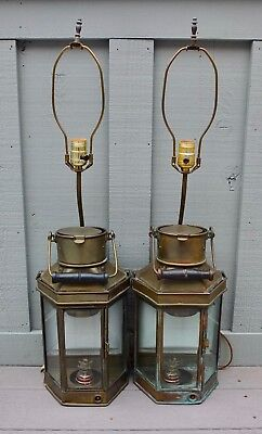 Pair Of Antique E.C.&S. 1917 Brass Ship Lanterns Converted Into Table Lamps