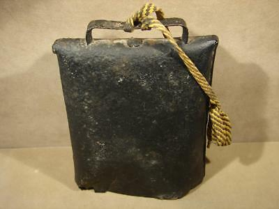 Vintage Antique Metal Old Large Cow Bell Riveted Iron Clapper Hand Forged