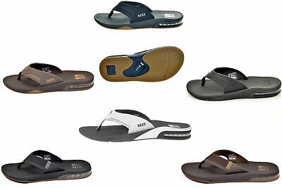 Reef Men's Fanning Bottle Opener Black, Brown, Gray& White Sandal