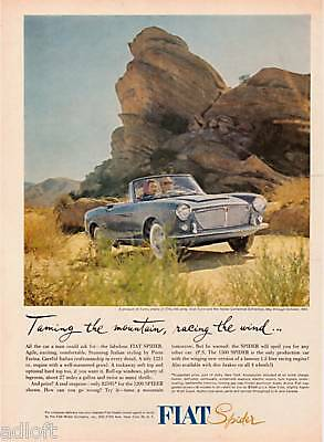 "1961 Fiat 1200 Spider Photo ""Racing The Wind"" print ad"