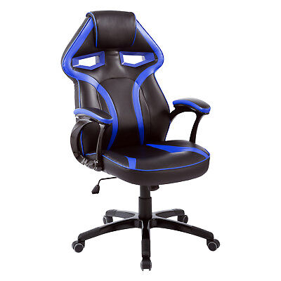 Racecar Styled Office Chair Gaming Seat Adjustable Swivel Home Office Blue