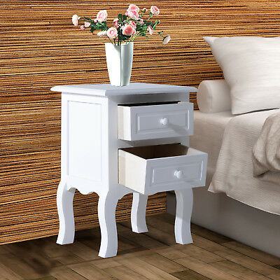Wood Night Stand Bedside End Table 2 Drawers White
