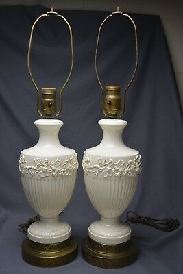 FABULOUS Vintage Matching Pair Wedgewood Queensware Cream Table Lamps