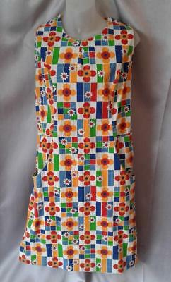 GRAPHIC  FLORAL Vintage 1960s MOD COTTON SHIFT SUN DRESS - LRG / XL