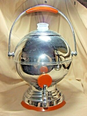 ART DECO 30'S/ 40's CHROME Round BALL w/ CATALIN  COFFEE Party Size URN
