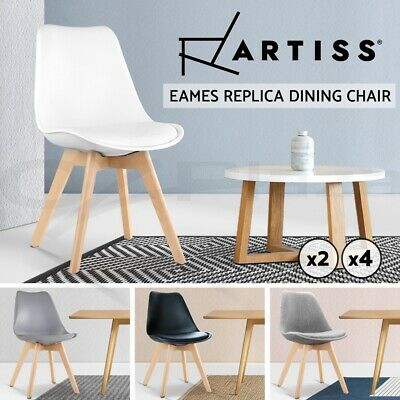 2/4 Retro Replica Eames Dining Chairs PU Leather Fabric Padded Seat Cafe Kitchen