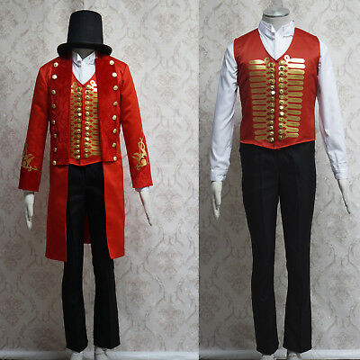 Men's Knee Long Coat Double Breasted Vest Pants Adult Cosplay Outfits Hat Suits