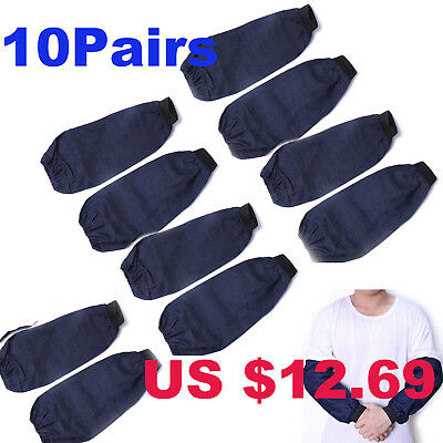 10Pairs Welding Arm Sleeves Denim Heat Protection Cut Resistant Welding Safety