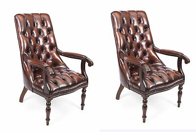 Bespoke Pair English Handmade Carlton Leather Desk Chairs BBO