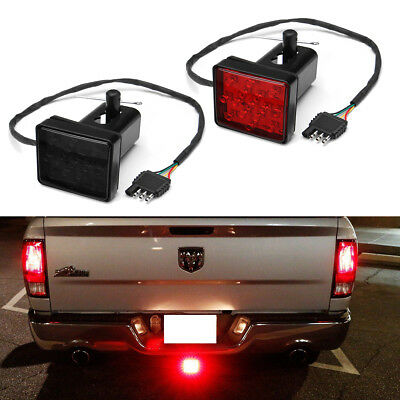 "Smoked Lens 15-LED Brake Light Trailer Hitch Cover Fit Towing & Hauling 2"" Size"