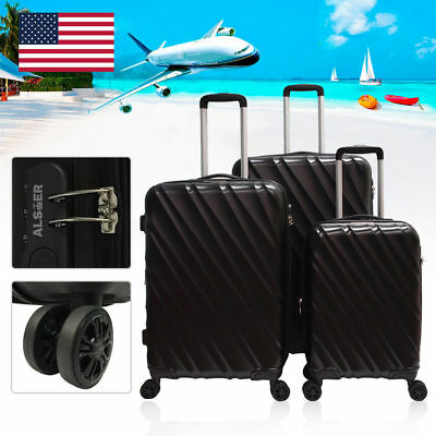 GLOBALWAY 3 Pcs Luggage Travel Set Bag ABS Trolley Suitcase w/ TSA Lock Black