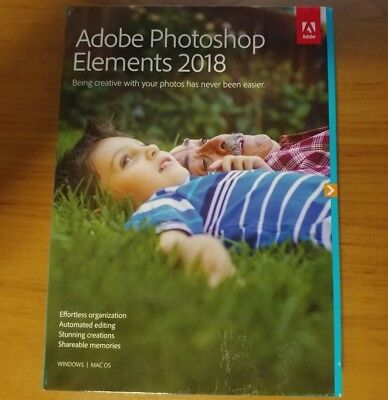 Adobe Photoshop Elements 2018 Win Mac Retail Pack With Dvd New