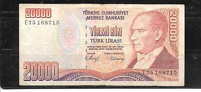 Turkey #201B Vg Circulated 20000 Lira Banknote Paper Money Currency Bill Note